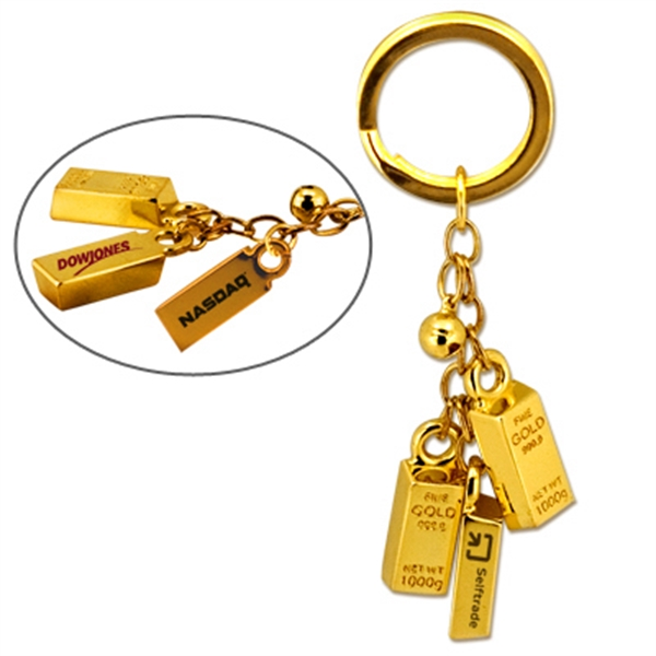 Custom Gold bar bell key chain