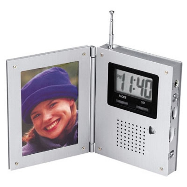 Personalized AM/FM radio alarm clock with picture frame