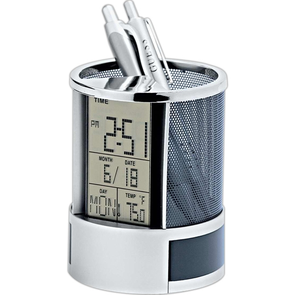 Imprinted Calendar alarm clock pen holder