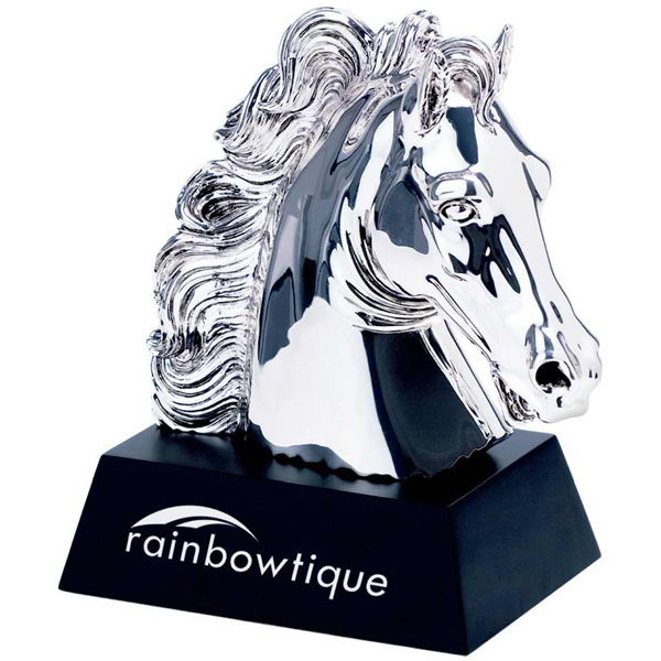 Customized Silver plated horse award on wooden base