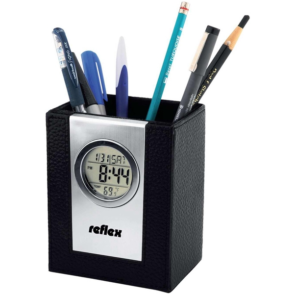 Printed Leather pen holder with alarm clock