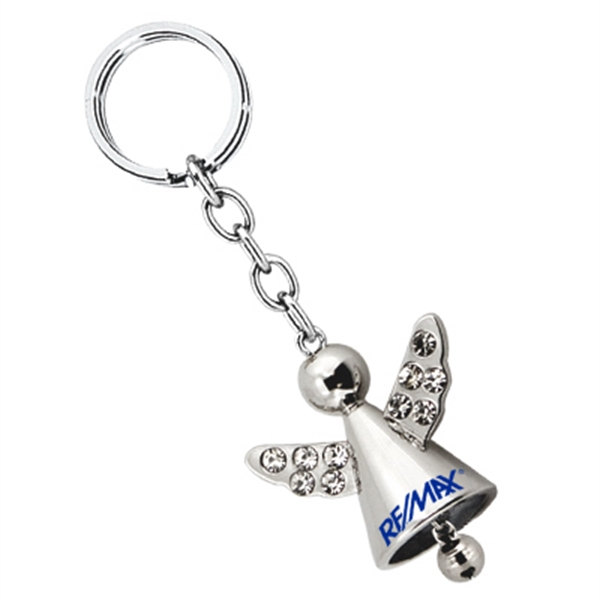 Custom Angel keychain with crystals and jingle bell
