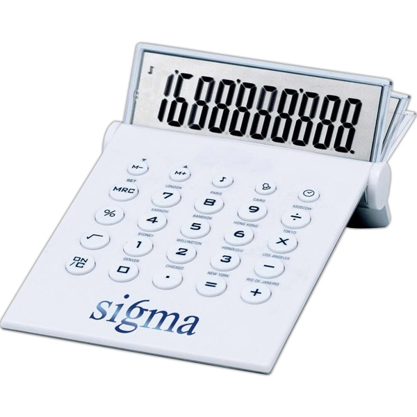 Imprinted Desktop calculator and world time clock