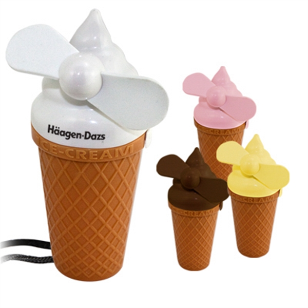 Imprinted Ice cream fan with lanyard