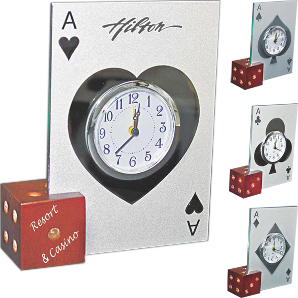 Printed Glass casino alarm clock w/wooden dice base