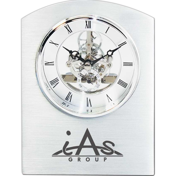 Imprinted Moving gear clock in brushed aluminum case