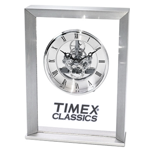 Personalized Moving gear clock in brushed aluminum case