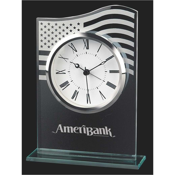 Printed US flag glass clock
