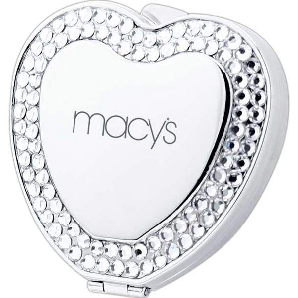 Imprinted Heart compact mirror with crystal jewels