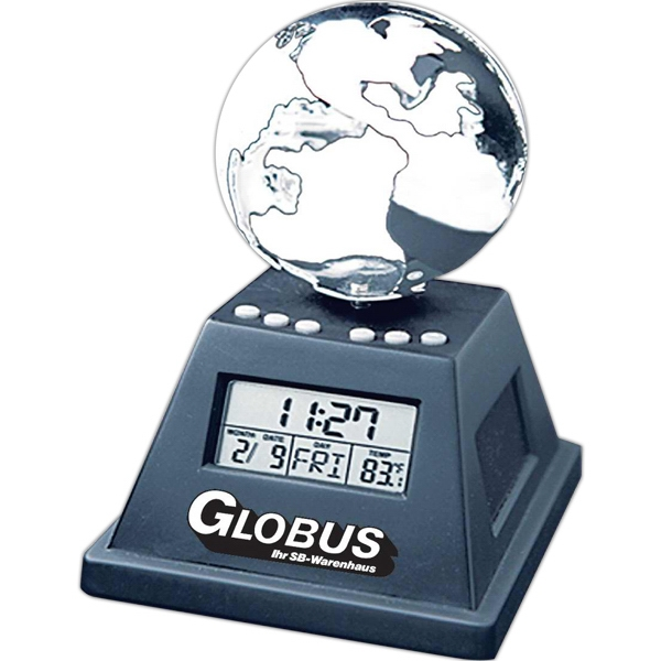 Printed Solar powered moving globe with alarm clock