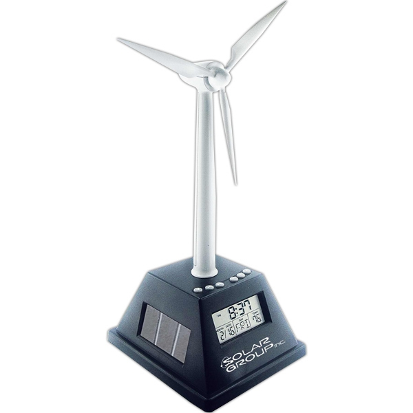 Customized Solar powered turning wind turbine with alarm clock