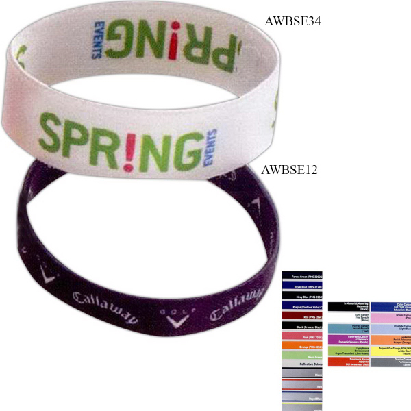"Imprinted 1/2"" Dye Sublimated Stretchy Elastic Bracelet"