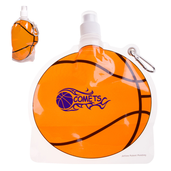 Imprinted HydroPouch! 24 oz. Basketball Collapsible Water Bottle