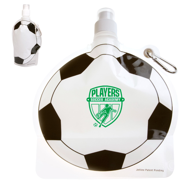 Personalized HydroPouch! 24 oz. Soccer Ball Collapsible Water Bottle