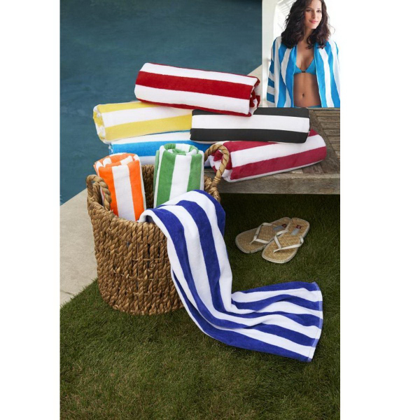 Customized Turkish Signature (TM)Basic Weight Cabana Stripe Beach Towel
