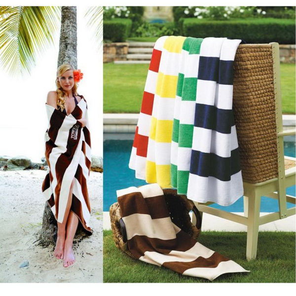 Imprinted Turkish Signature (TM) Horizontal Cabana Stripe Beach Towel