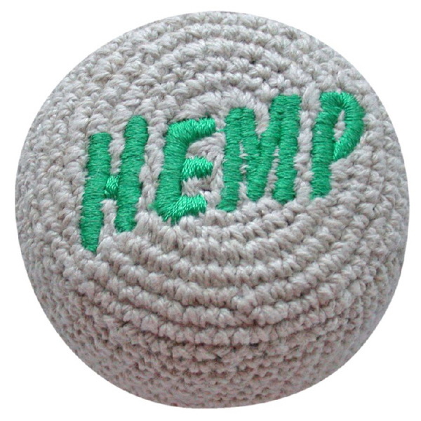 Personalized Hemp Embroidered Crocheted Footbag (Hacky Sack)