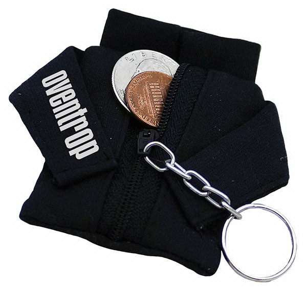 Imprinted Fabric Jacket Coin Purse Keychain