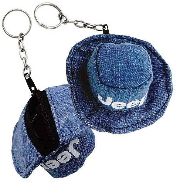 Printed Fabric Panama Hat Coin Purse Keychain