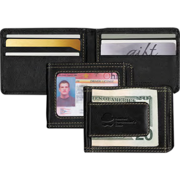 Custom Leather Wallet with Money Clip