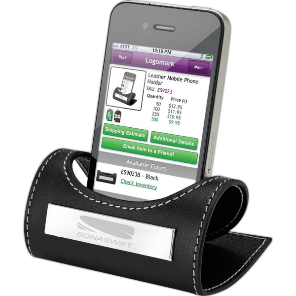Printed Genuine leather engraveable mobile phone holder