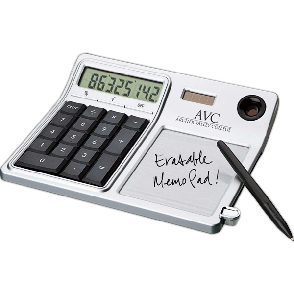 Personalized Erasable memo pad and desktop solar calculator