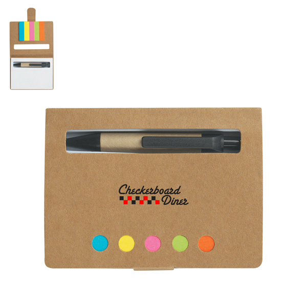 Imprinted Eco-Friendly Memo Case With Sticky Flags & Pen