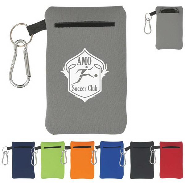 Imprinted Neoprene Portable Electronics Case With Carabiner