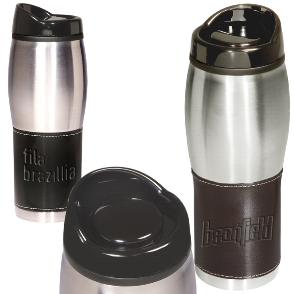 Custom Leeman New York Leather-Wrapped Tumbler