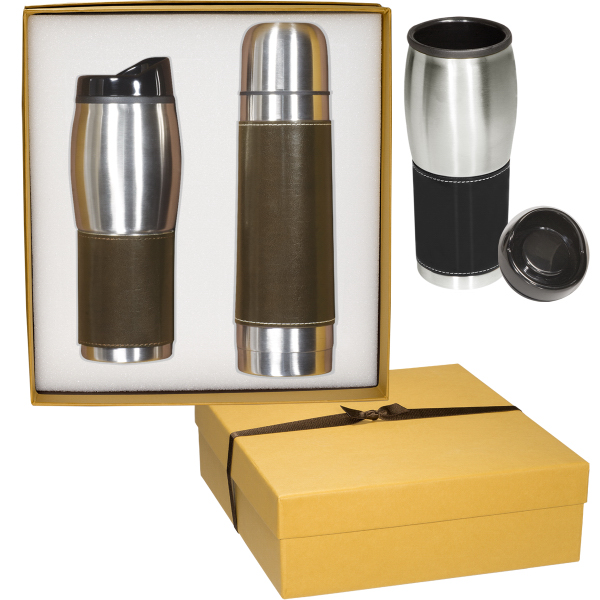 Promotional Leeman New York Leather-Wrapped Thermos/Tumbler Set