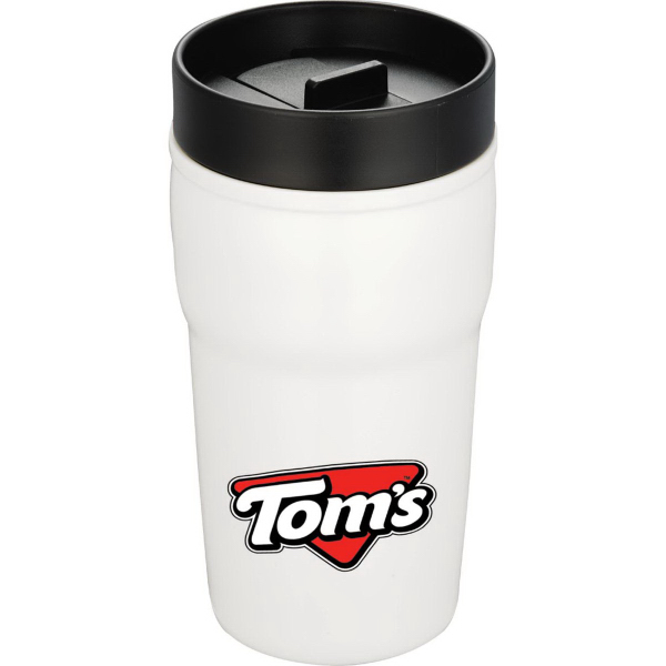 Imprinted Double Wall Ceramic Tumbler with Hard Lid 10 oz