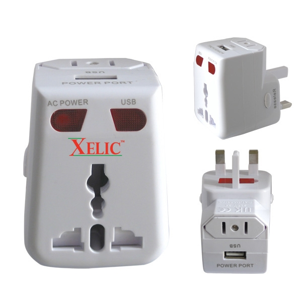 Printed Universal Power Adapter II with USB Port