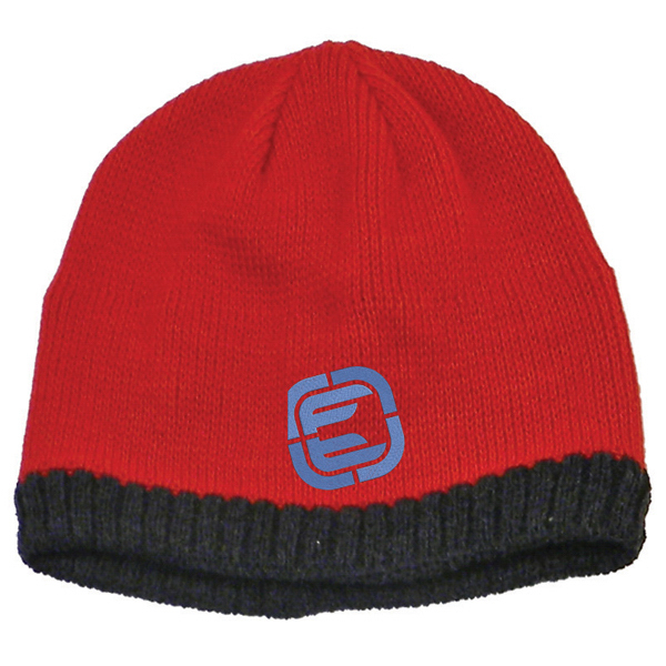 Imprinted Knitted Beanie With Fleece Ear Lining