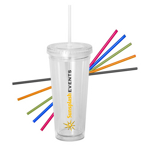 Customized 20 oz. Acrylic Double Wall Tumbler with Straw
