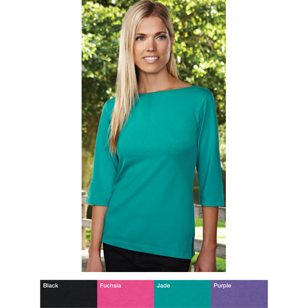 Imprinted Cypress - Women's 3/4 boat neck knit shirt