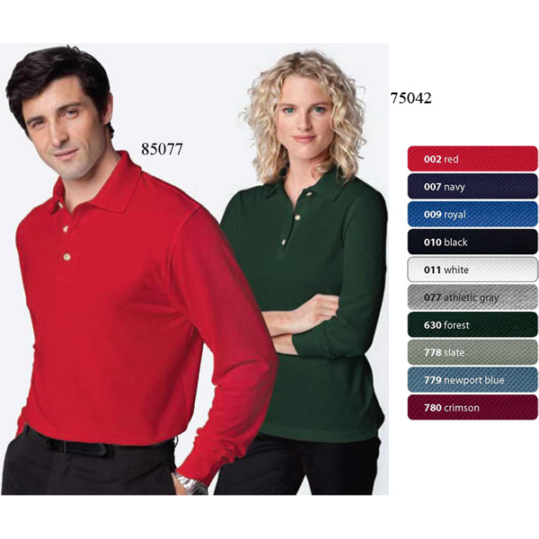 Printed Ladies' Extreme Long Sleeve Pique Polo with Teflon (R)