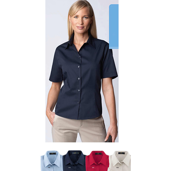 Imprinted Ladies' Short Sleeve Easy Care Twill Shirt