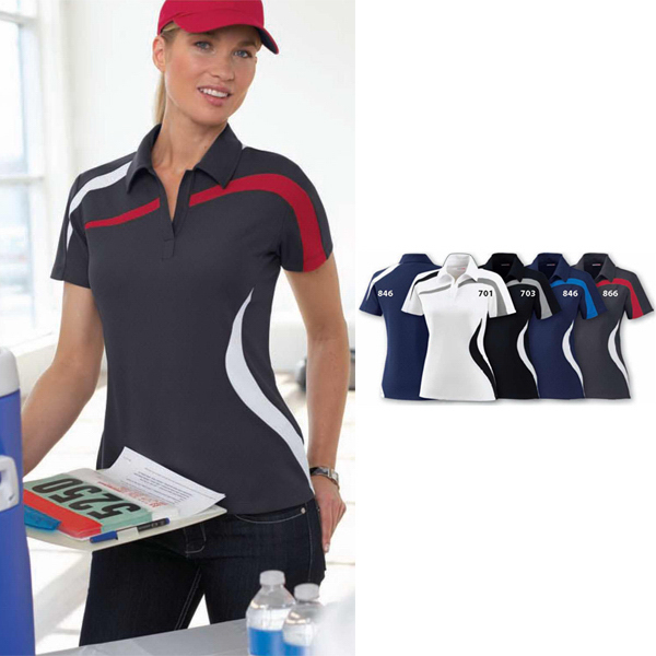 Promotional Ladies' Performance Polyester Pique Color-Block Polo