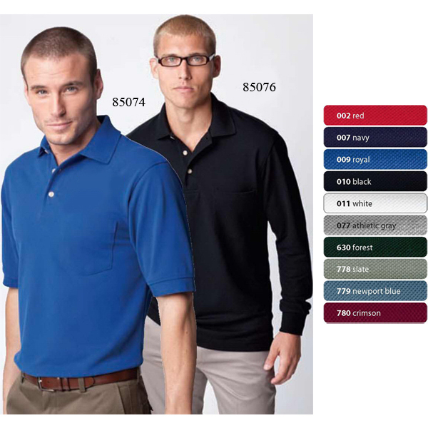 Custom Men's Pique Polo Long Sleeve with Pocket and Teflon (R)