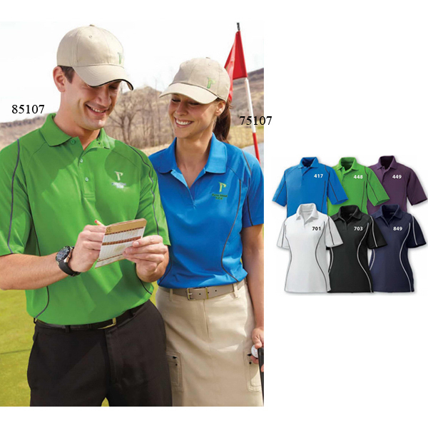 Promotional Men's Velocity Snag Protection Color-Block Polo With Piping