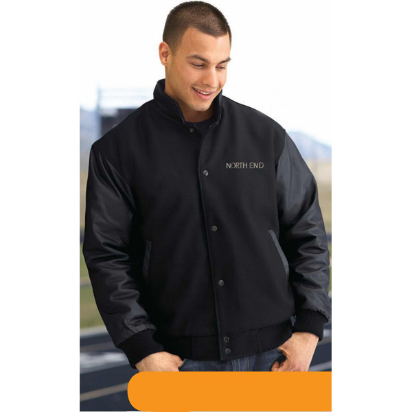 Imprinted Men's North End (R) Melton/Leather Jacket with Stand Collar