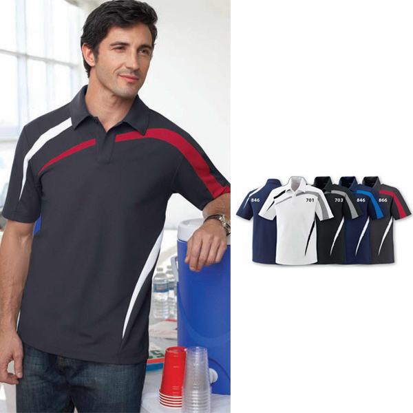 Promotional Men's Performance Polyester Pique Color-Block Polo