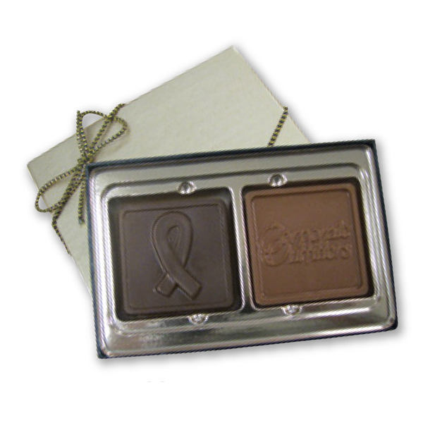 Personalized Custom Molded Chocolate Breast Cancer Ribbon Shape Box