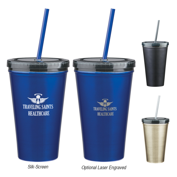Customized 16 oz. Stainless Steel Double Wall Tumbler With Straw