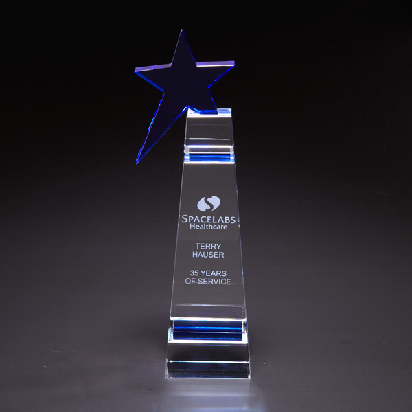 Custom Blue Star Large Optically Perfect Award