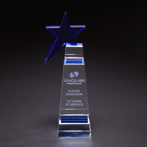 Customized Blue Star Medium Optically Perfect Award