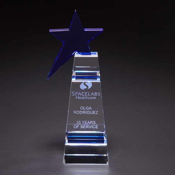 Promotional Blue Star Small Optically Perfect Award