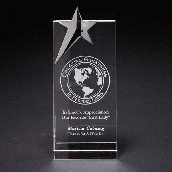 Custom Skyward Star Large Optically Perfect Award