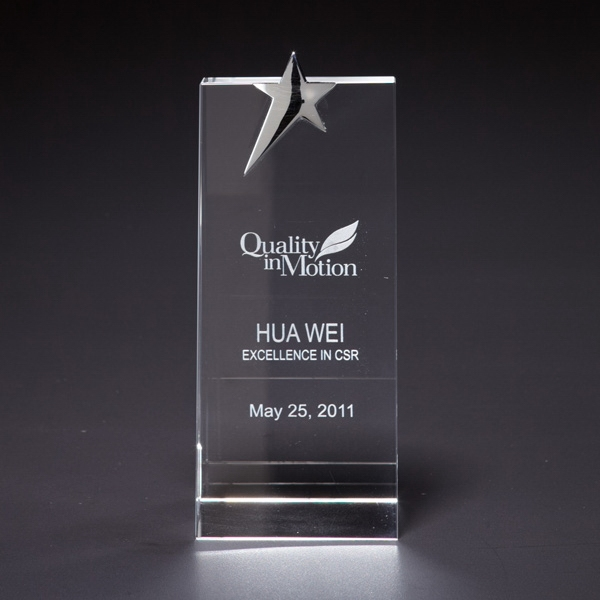 Custom Skyward Star Medium Optically Perfect Award