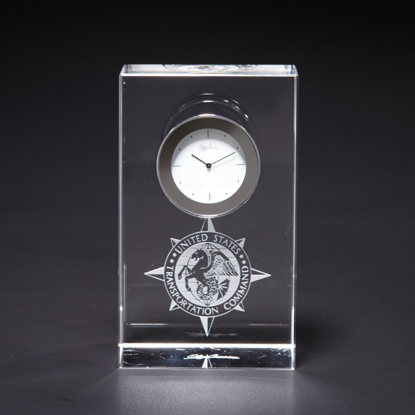Imprinted Steadfast Glass Clock